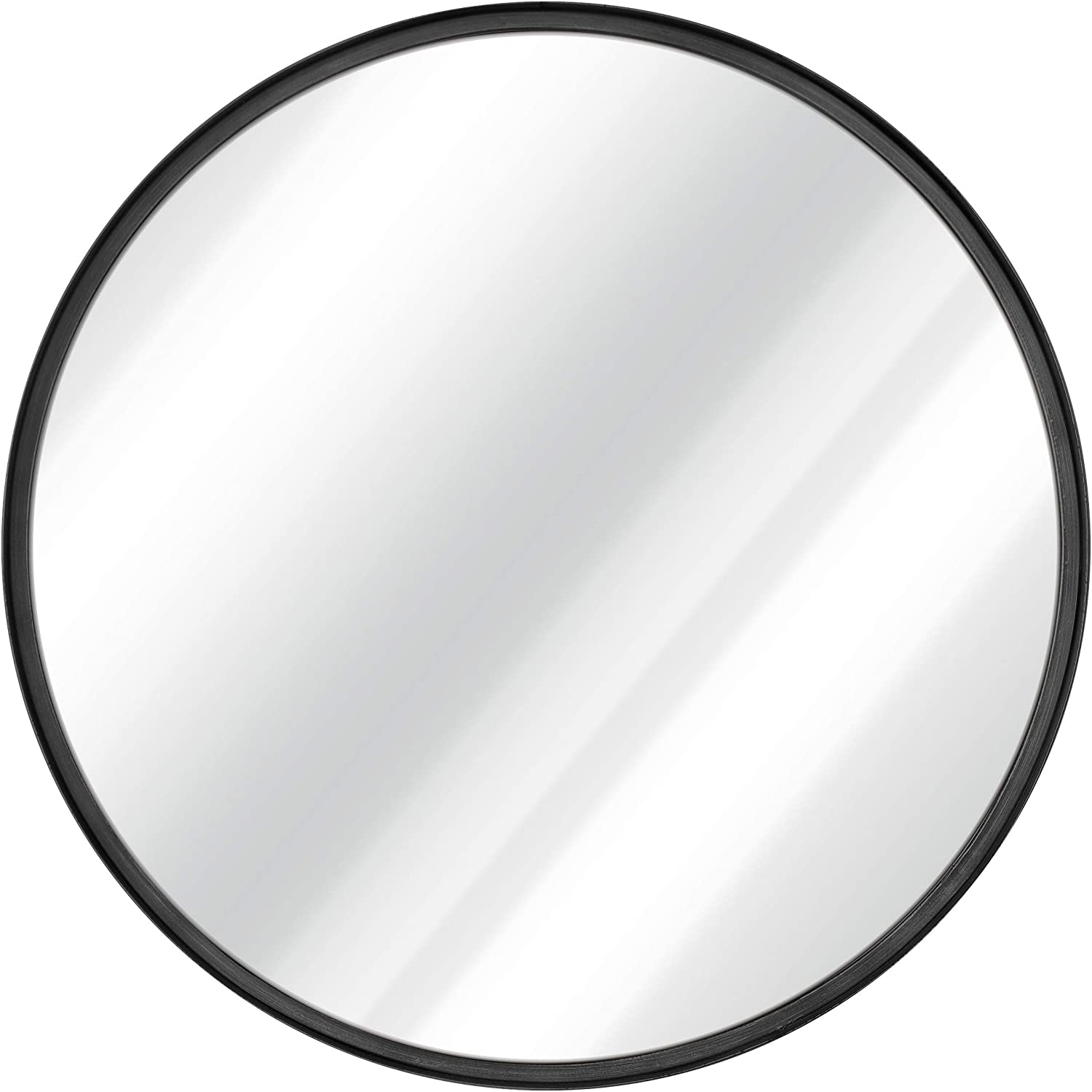 Black Round Wall Mirror - 27.5 Inch Large Round Mirror, Rustic Accent Mirror For Bathroom, Entry, Dining Room, & Living Room. Metal Black Round Mirror For Wall, Vanity Mirror Large Circle Wall Mirror