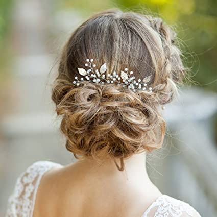 Aukmla Haarnadeln Hochzeit Kopfschmuck mit Kristallen Braut Haarschmuck für Frauen auf Hochzeit Party oder Freizeit (Silver)