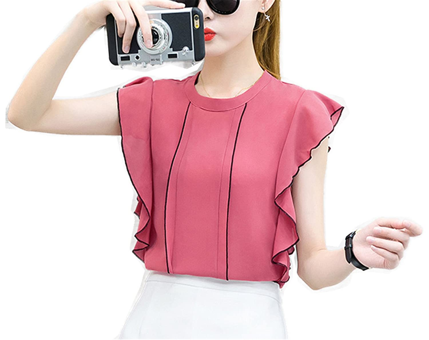 OUXIANGJU Summer New Fashion Women Casual Blouses Chiffon OL Tops Solid O-Neck Short Sleeve Shirt at Amazon Womens Clothing store: