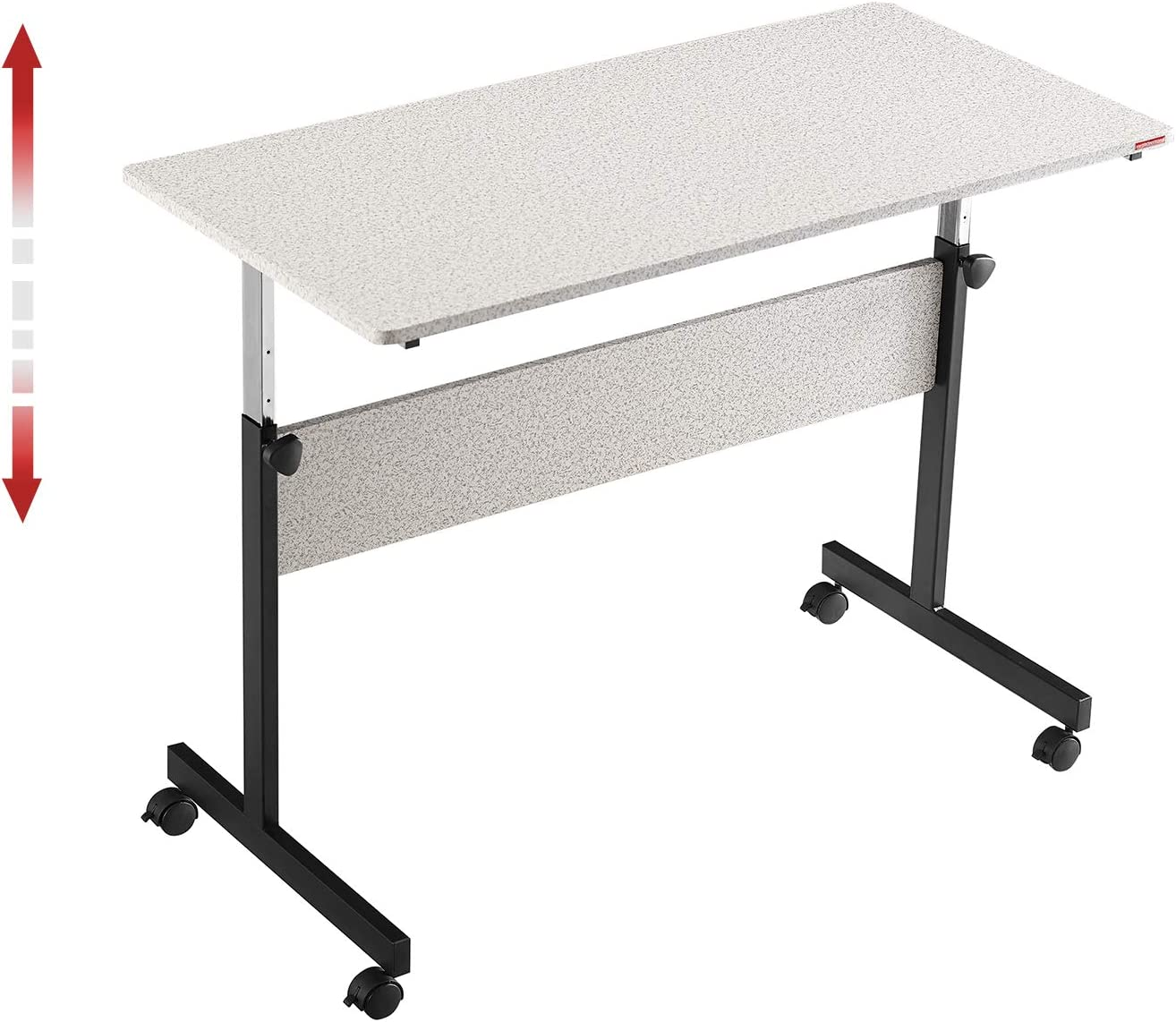 """Mr IRONSTONE Height Adjustable Desk Sit-Stand 47.6"""" Elevate Mobile Computer Desk Home & Office Utility Table with Rolling Wheels (Spatter Gray)"""
