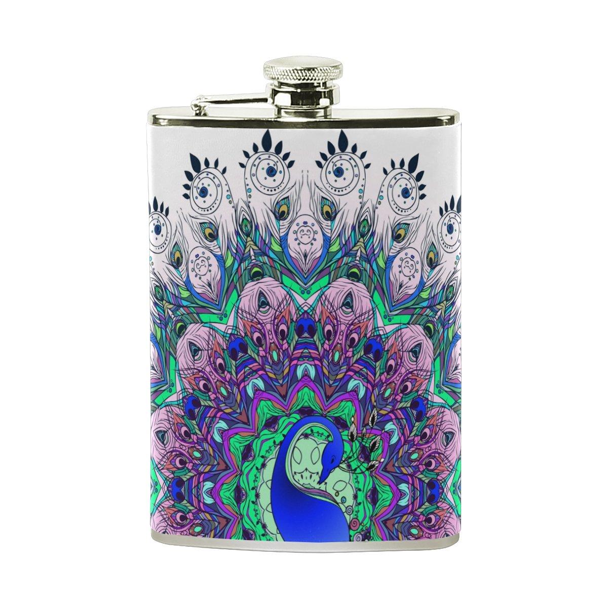 2019超人気 Alaza Alaza Peacock酒ヒップフラスコ8オンスステンレス鋼漏れ防止ポケットショットフラスコPUレザーWrappedカバー B075XLMZC4 B075XLMZC4, 昭和区:0a9ba7d3 --- a0267596.xsph.ru