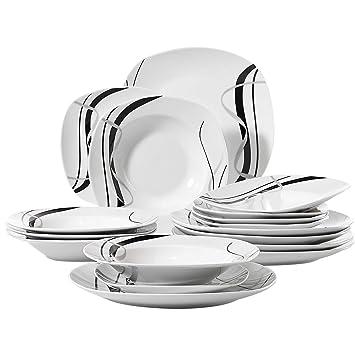 Veweet FIONA 18pcs Assiettes Pocelaine Service de Table 6pcs Assiettes  Plates 24,7cm, 6pcs 30f938fbdba4
