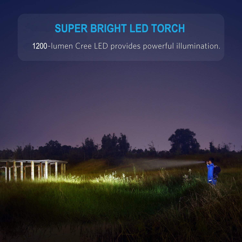 para acampar, caminar y uso de emergencia WASAGA Antorcha IP65 resistente al agua 4 modos de luz y bater/ía 18650 de bolsillo recargable con zoom con 1200 l/úmenes de brillo Linterna LED