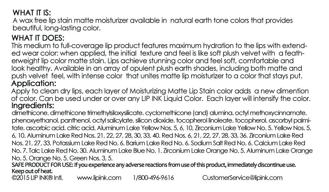 LIP INK Wax Free Matte Moisturizing Lip Stain 5 Pack