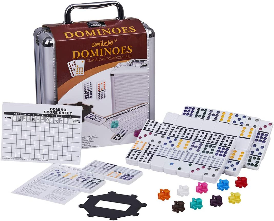 Dominoes Set - Mexican Train Dominoes Double 12 Domino Game with Aluminum Case