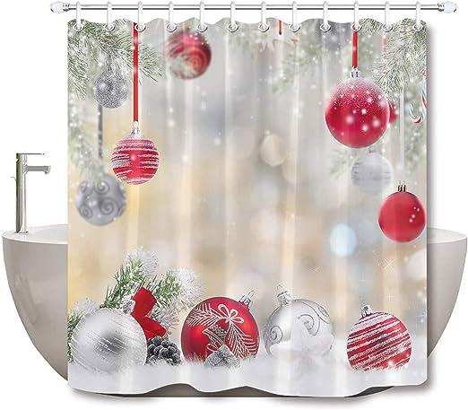 72x72/'/' Christmas  Bathroom Waterproof Polyester Shower Curtain /& Bath Mat