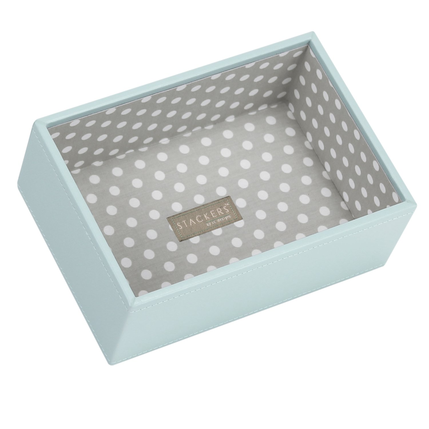 STACKERS 'MINI SIZE' - New for 2013 - Duck Egg Blue Deep Open STACKER Jewelry Box with Grey Polka Dot Lining Carters of London 70819