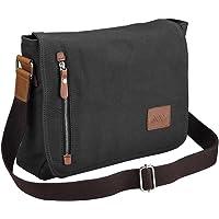 "Yescom 14"" Men Women Vintage Canvas Cross Body Schoolbag Satchel Shoulder Messenger Bag Black"