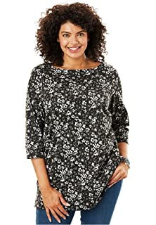 9f46d3e6512 Woman Within Plus Size Perfect V-Neck Three-Quarter Sleeve Tunic at ...