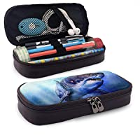 Tessipolo Happy Shark Week Black Leather Pencil Case Shell Pen Case Holder for Executive Fountain Pen and Stylus Touch Pen