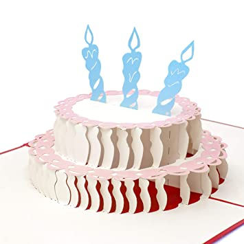 Amazon Paper Love Pop Up Birthday Card Happy Cake 3D Popup Greeting Cards Blank Write In Your Own Wishes