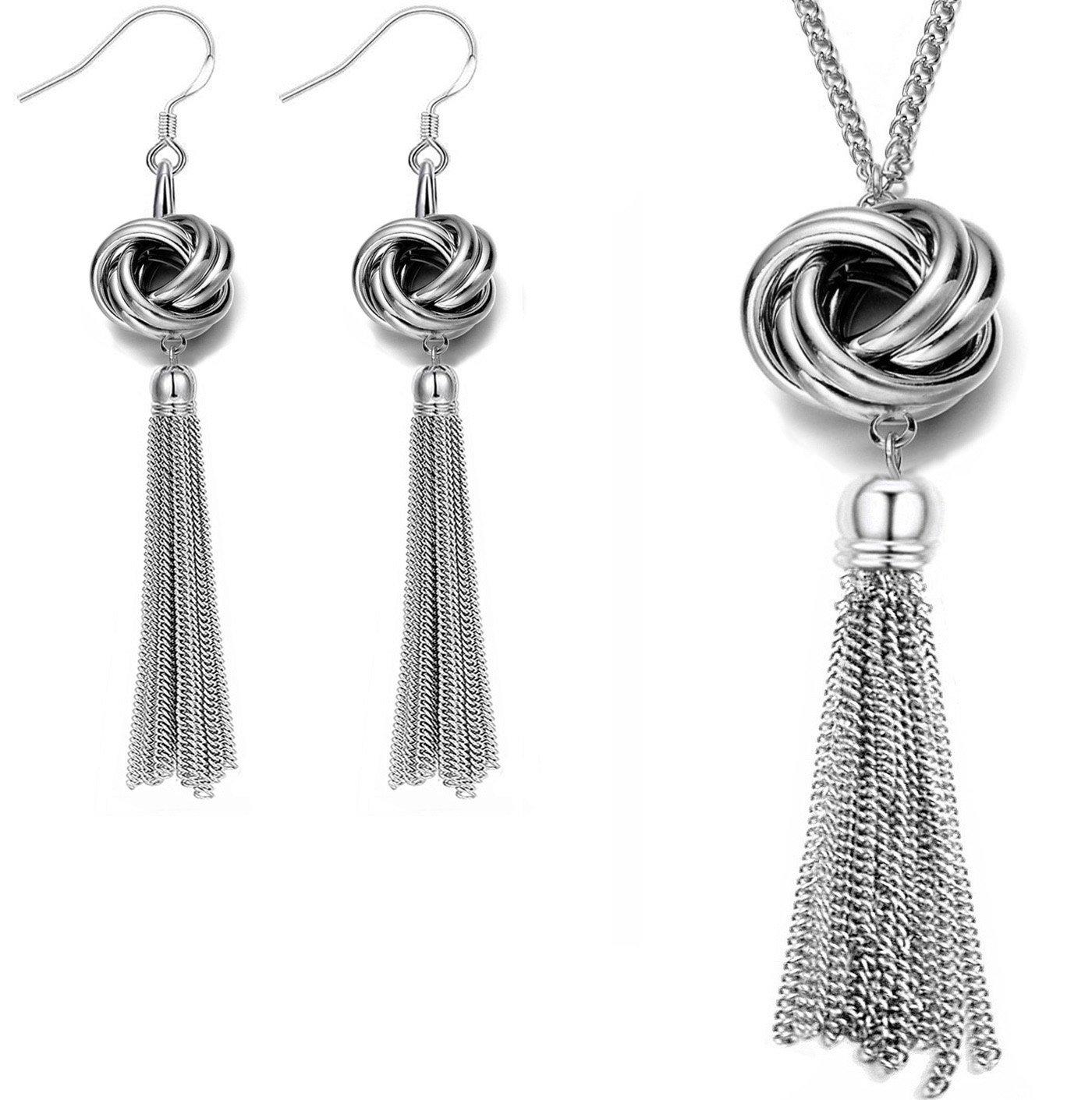 Set Necklace and Earrings Long Tassel Knot Pendant Drop Dangle Earrings Set Wedding Jewelry For Women