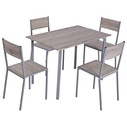 amazon com homcom 5 piece modern compact kitchen dining room table rh amazon com Round Dining Table Dining Table 6 Chair Set