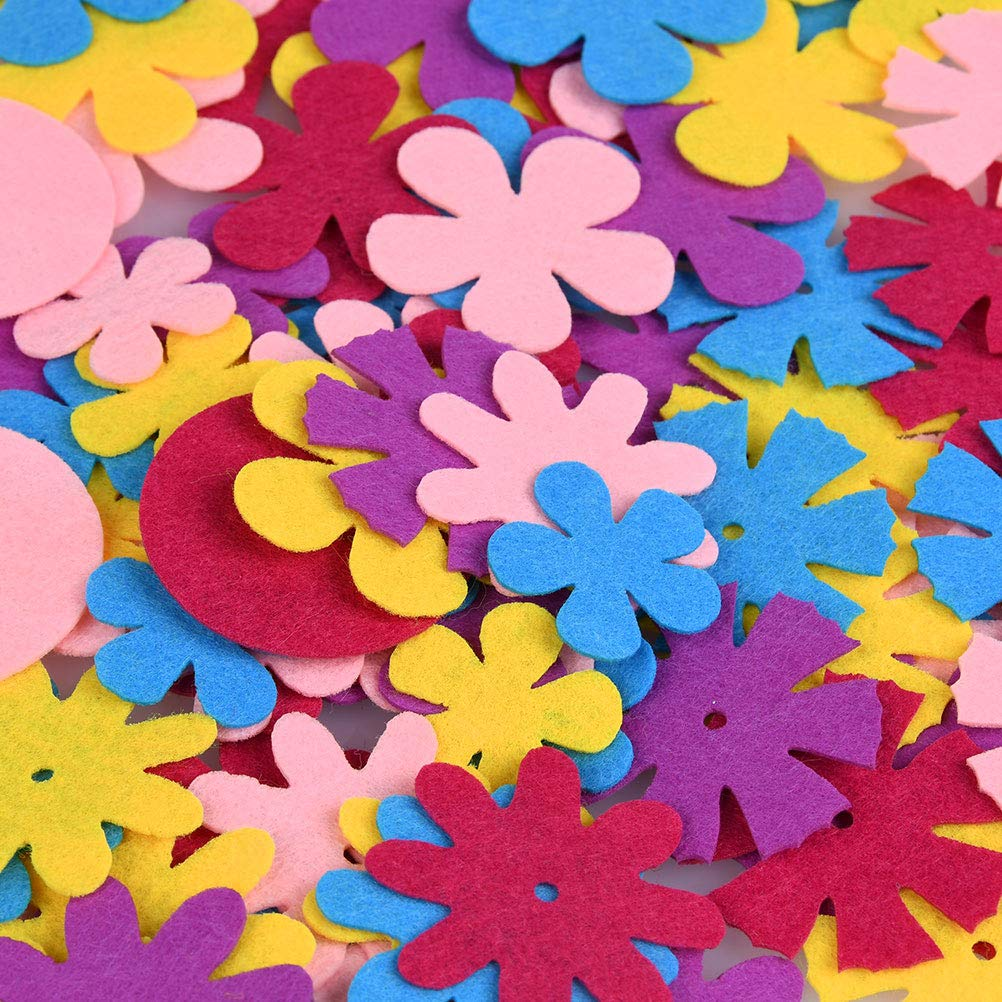 YANSHON 5 Shapes 300 PCS Craft Felt Flowers Fabric Flower for DIY Crafts Sewing Handcraft Assorted Color