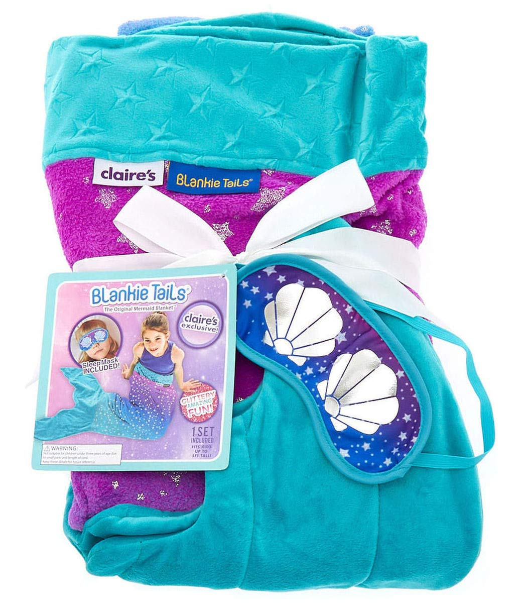 Purple Blue Galaxy Pattern Mermaid Tail Blanket & Matching Sea Shell Sleep Mask Set by Claires