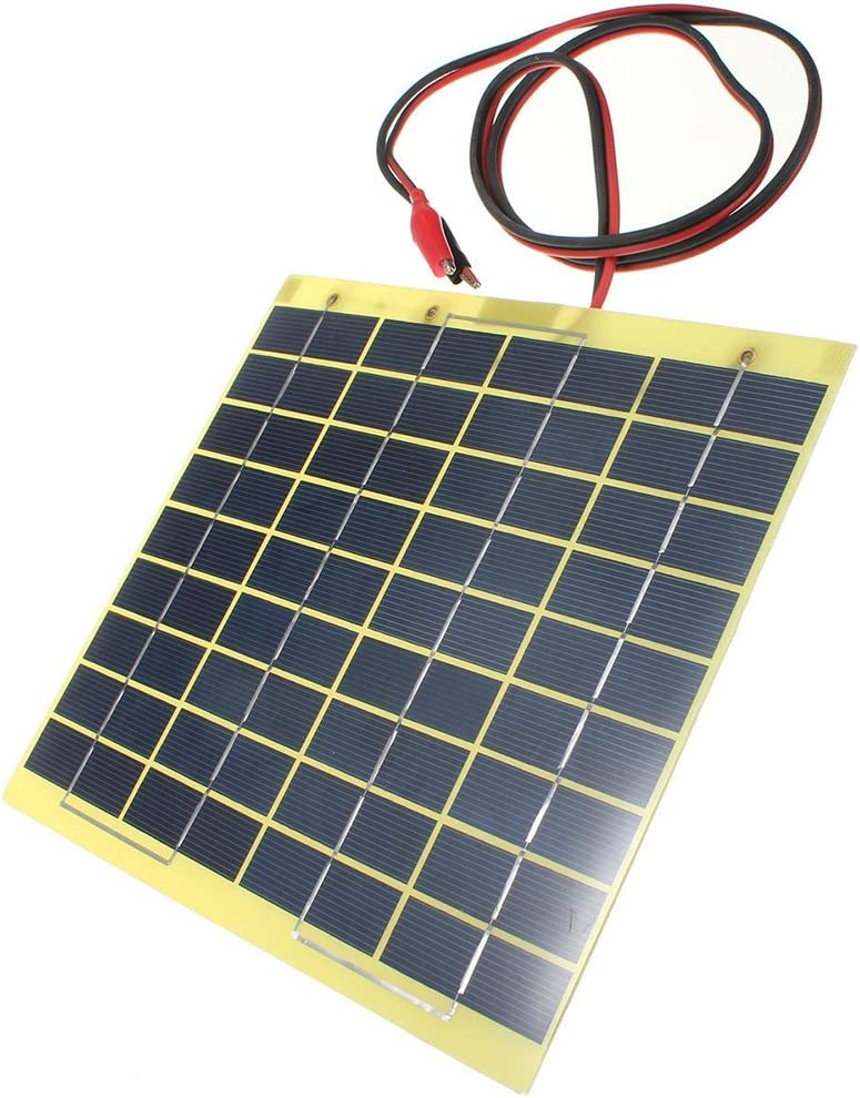 Globalflashdeal 12V 5W Solar Panel /& Clips For Car Home Camping Boat Battery Charger