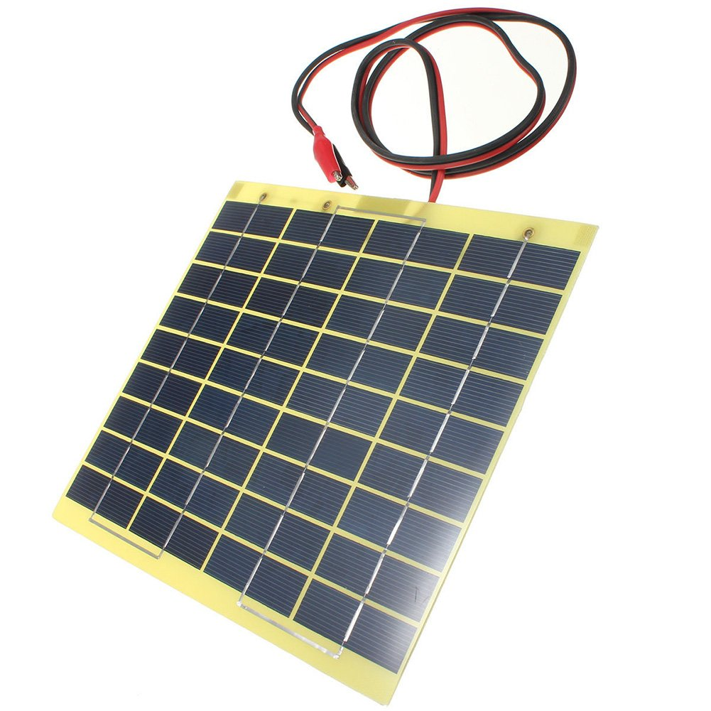 Cikuso 12V 5W Solar Panel & Clips For Car Home Camping Boat Battery Charger 116424