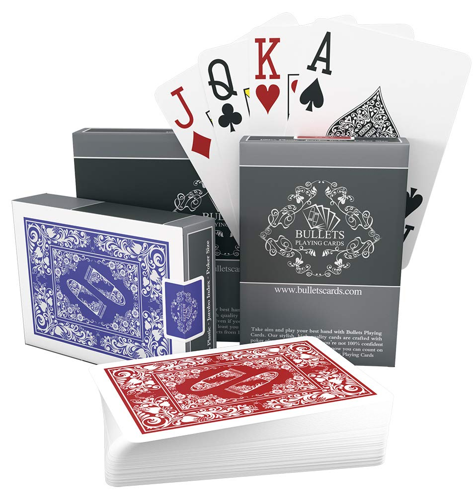 Bullets Playing Cards - Two Decks of Poker Cards - Waterproof Plastic - Easy to Read & Great Feel - Jumbo Index & Two Pips - Professional Playing Cards for Texas Holdem Poker by Bullets Playing Cards