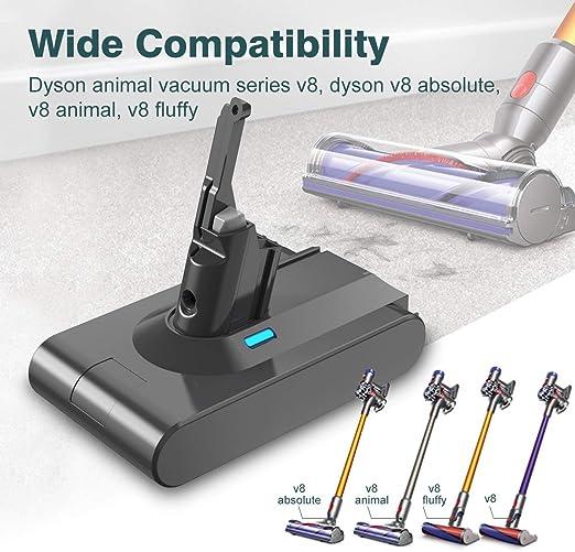 FLOUREON Batería de Repuesto de Dyson V8 Aspiradora, 3000 mAh 21.6 V Baterías de Reemplazo para Dyson V8 Absolute Animal V8 Fluffy Vacuum, Baterías Li-Ion para DC Aspiradora de Mano: Amazon.es: Hogar