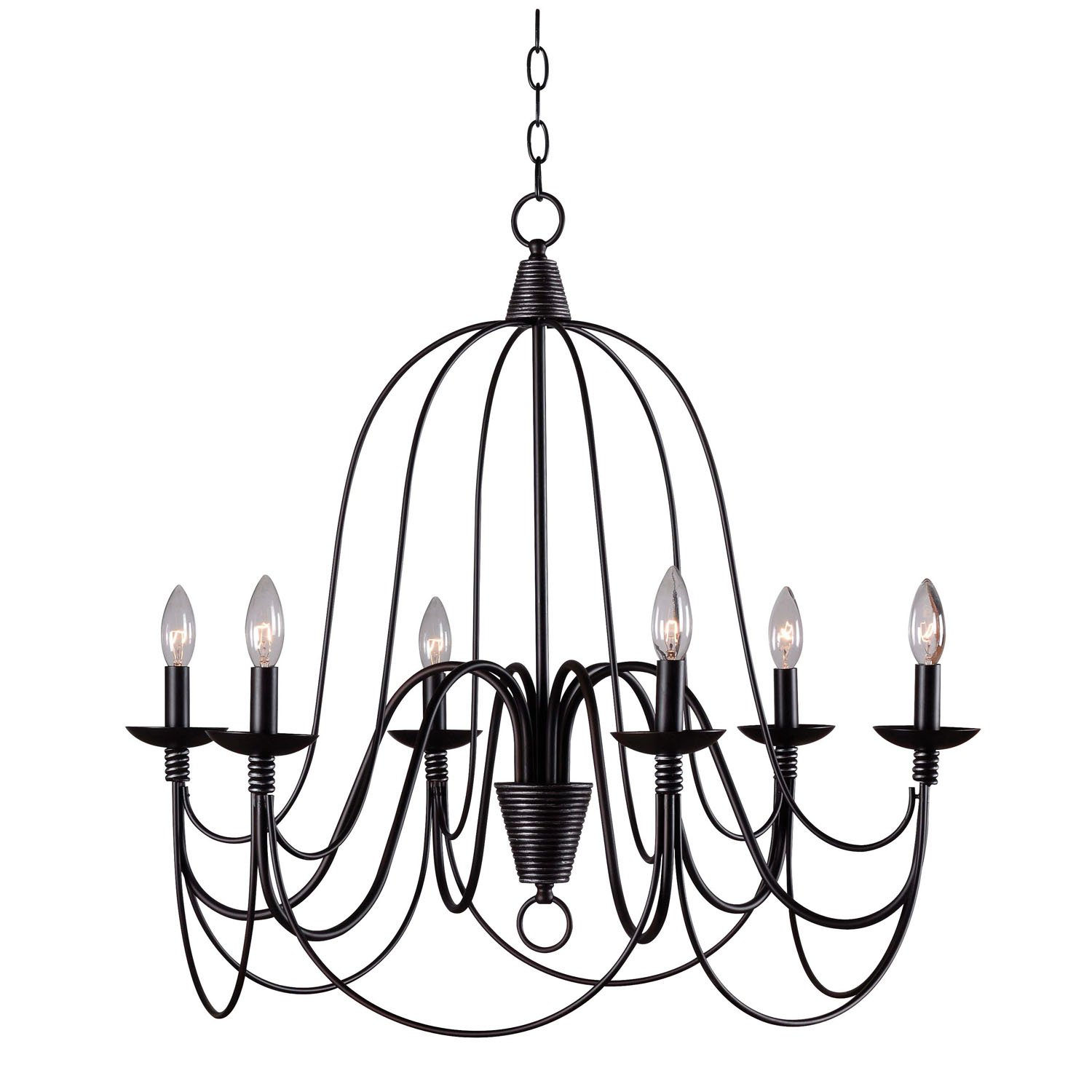 Kenroy Home ORB Pannier 6 Light Chandelier Blackened Oil