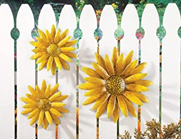 3 Pc Metal Sunflower Wall Art Decor Amazon Co Uk Garden Outdoors