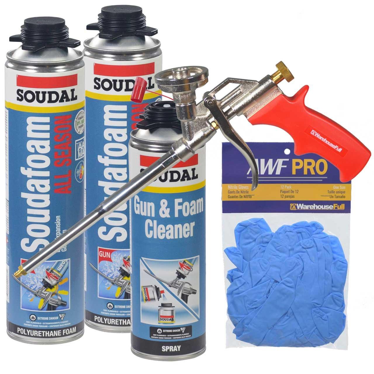 Soudal All Season Window & Door Foam Kit with Foam Gun, Gun Cleaner and Gloves
