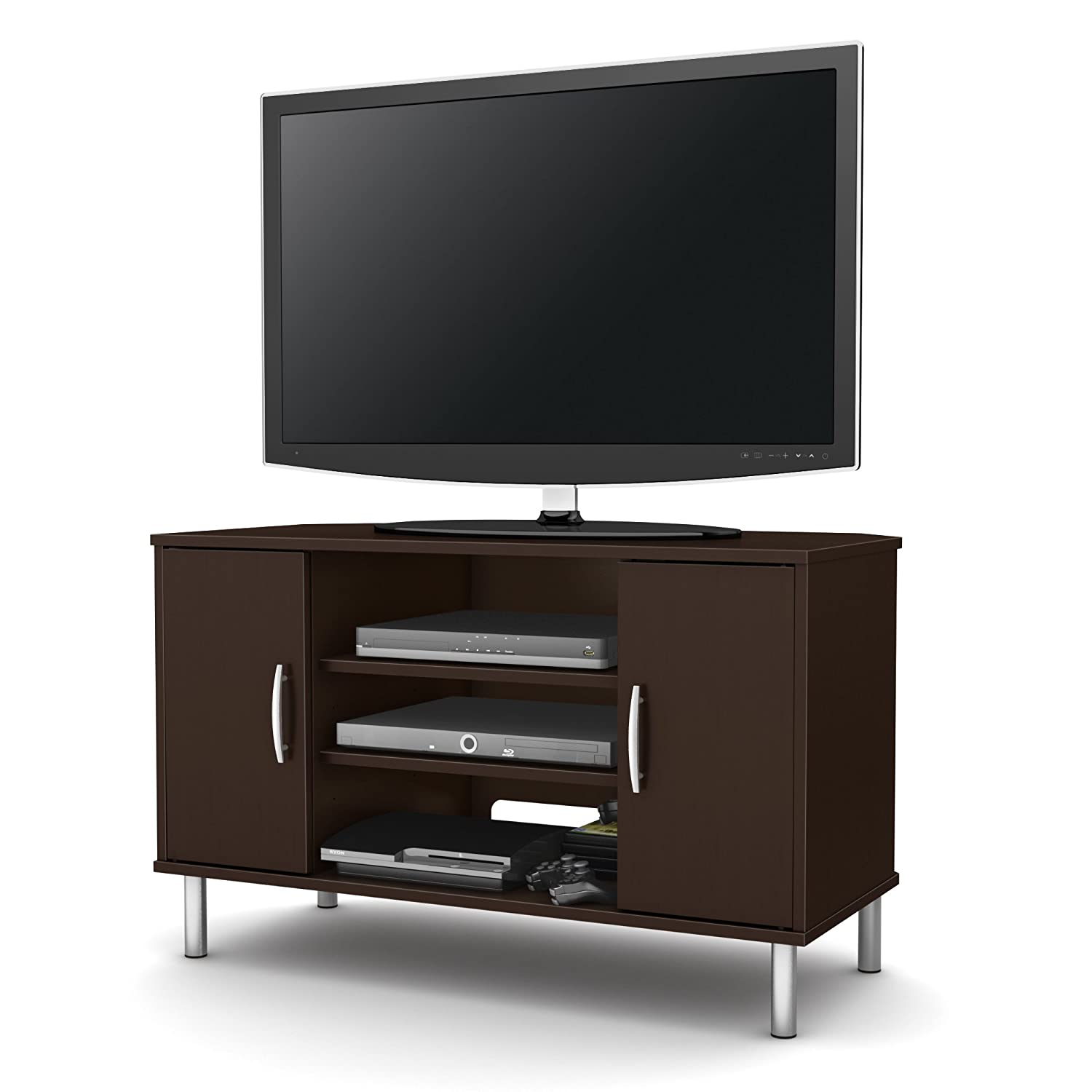 amazoncom south shore renta corner tv stand chocolate kitchen  - amazoncom south shore renta corner tv stand chocolate kitchen  dining