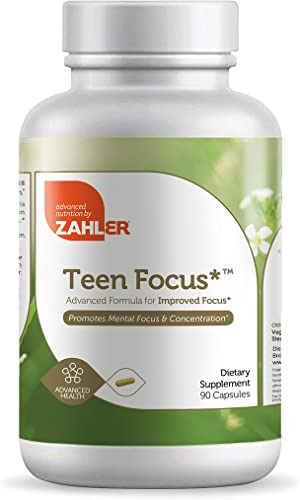 Zahler TeenFocus, Advanced Formula for Improved Focus Concentration, Certified Kosher, 90 Capsules