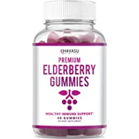 Elderberry Gummies - Supports Immune System Health - Made with Premium Plant-Based Pectin - NO Gelatin, NO Fructose Corn Syrup, Gluten Free - Natural Ingredients 60 Gummies Per Bottle