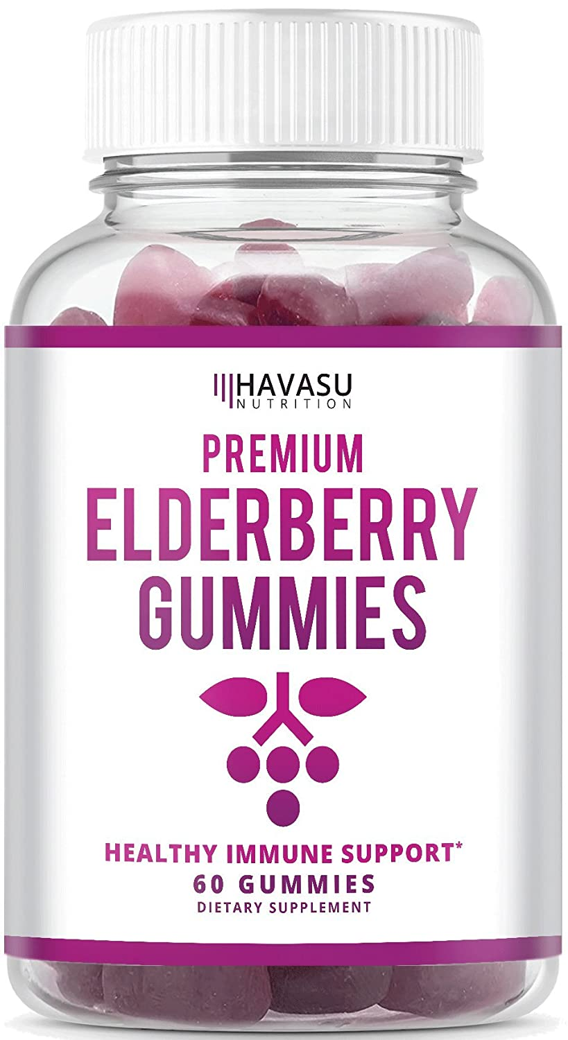 Havasu Nutrition Elderberry Gummies - Supports Immune System Health - Made with Premium Plant-Based Pectin - NO Gelatin, NO Fructose Corn Syrup, Gluten Free - Natural Ingredients, 60 Gummies