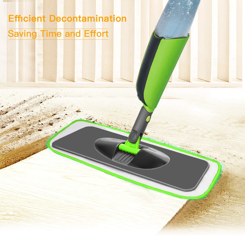 Verde Aiglam Spray Mop Mocio in Microfibra con spruzzatore Acqua Scopa di Spazzole Rotanti e Spazzolone con Spray Polverizzatore con 2 Panni in Microfibra e Un Pennello