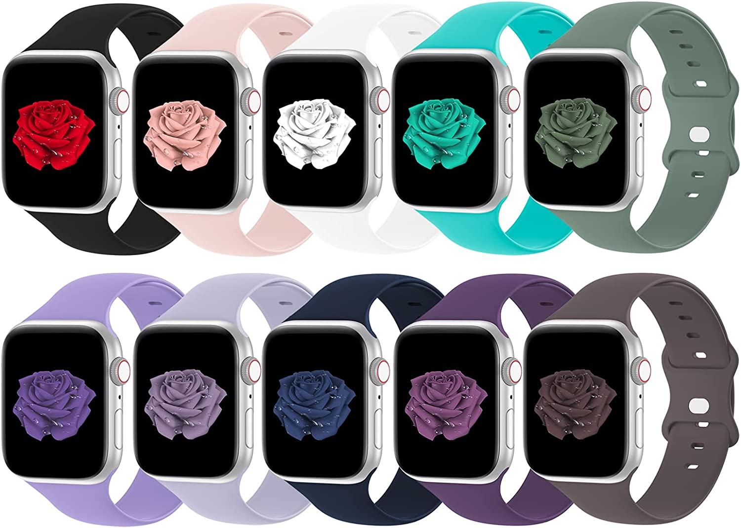 Bandiction Compatible with Apple Watch Band 38mm 40mm iWatch Bands 38mm 40mm Women Men, Soft Silicone Sport Replacement Strap Compatible for Apple Watch SE Series 6 5 4 3 2 1, Sport Edition, 10 Pack