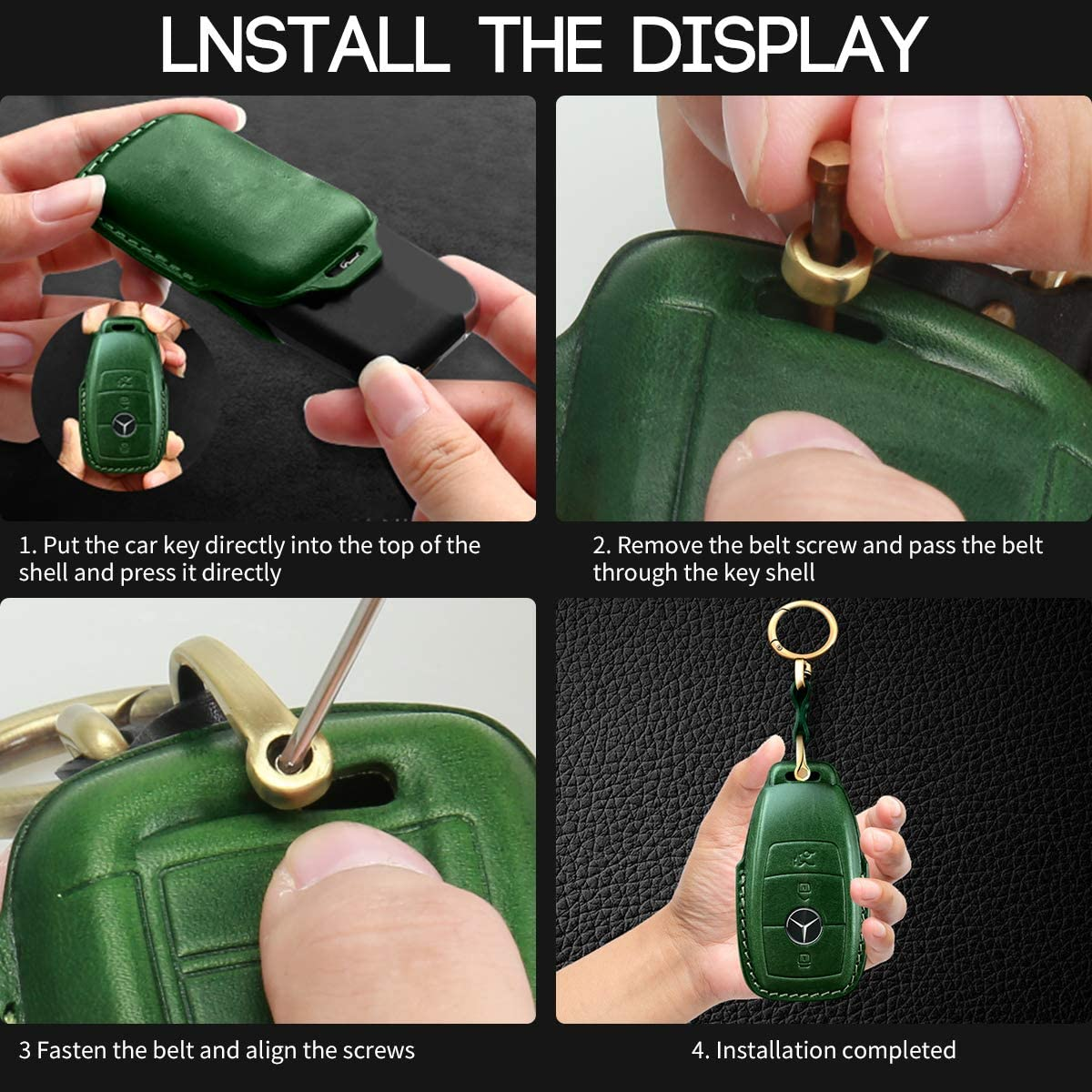 Full Protection Soft Leather Key Fob Case Compatible with Mercedes Benz Keyless Remote Control Key Chain E Class 2017,S Class 2018 Smart Keychain Intermerge for Mercedes Benz Key Fob Cover Green