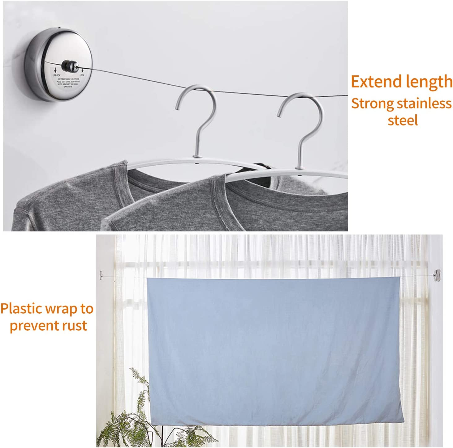 Round Style Polished Chrome Finish 9.2 Feets SUS304 Stainless Steel Clothes Dryer with Adjustable Stainless Steel Rope String Hotel Style Heavy Duty MASCARRY Retractable Clothesline