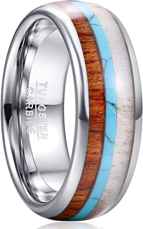 VAKKI 8mm Men's Tungsten Carbide Ring Deer Antler Turquoise Koa Wood Inlay Comfort Fit Size 7-12
