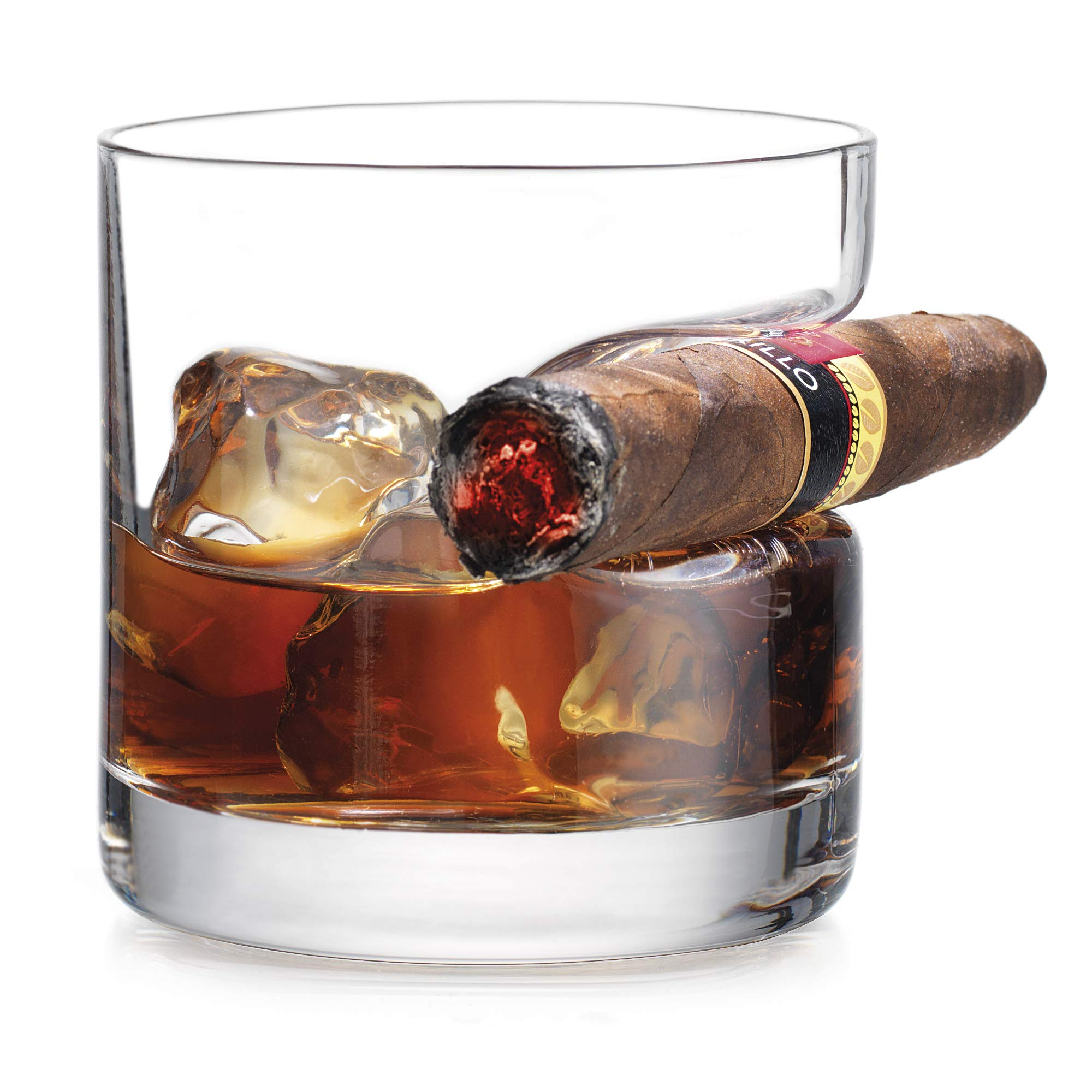Godinger Cigar Whiskey Glass – Old Fashioned Whiskey Glass With Indented Cigar Rest