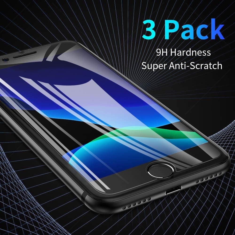 FLOVEME iPhone SE 2020 Screen Protector, 3 Packs HD Tempered Glass for iPhone 8 Screen Protector iPhone 7 6 6S, 4.7 Inch Anti Scratch, 9H 2.5D 0.33mm