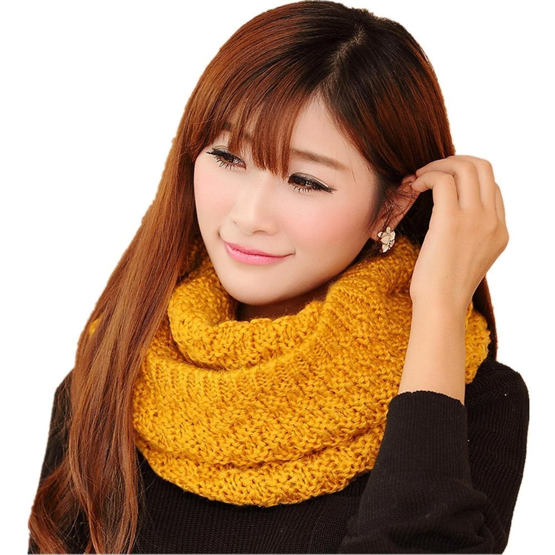 Vimeet Winter Women/Girls Warm Thicken Knitted Wool Circle Scarf Cowl