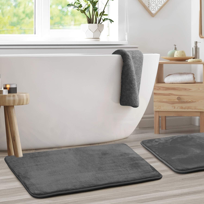 "Clara Clark Memory Foam Bath Mat Set of 2 - Non Slip, Absorbent, Soft Bath Rug Set - Fast Drying Washable Bath Mat - Black - Large Size 20"" x 32"""