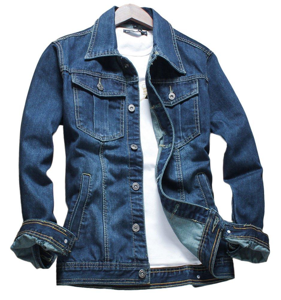 Plaid&Plain Men's Faded Wash Slim Fit Denim Jacket Classic Trucker Jacket Blue L