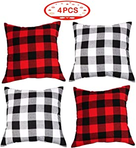Aytai Set of 4 Buffalo Check Plaid Throw Pillow Covers, 18x18 Square Pillow Cover Plaid Cotton Linen Cushion for Sofa, Car, Office, Home Decoration (Red and Black, White and Black)