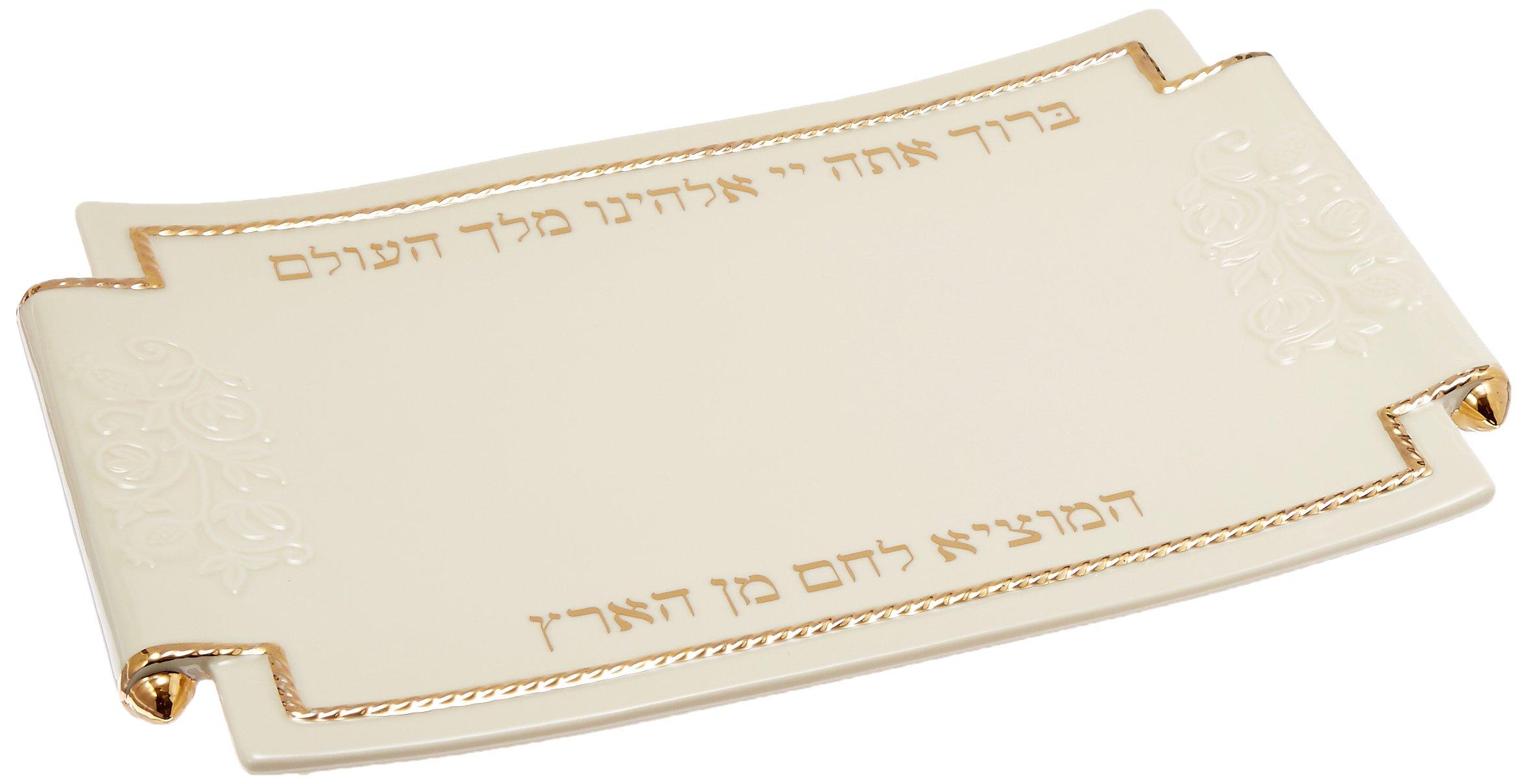 Lenox Judaic Blessings Challah Tray, White