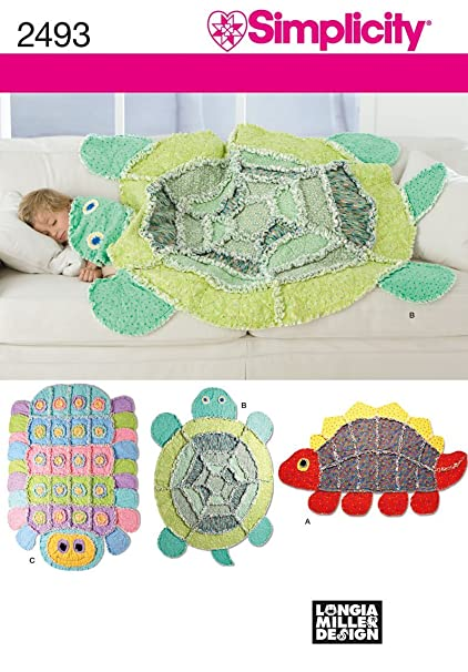 Simplicity Children's Caterpillar, Turtle, and Dinosaur Rag Quilt Sewing  Patterns, One Size