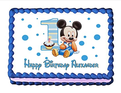Amazoncom Edible Cake Topper Baby Mickey Mouse Babys 1st Birthday