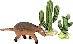 Assembled by Pabu Guli Fairy Garden – Route 66 Miniature Accessories – Two Resin Cactus Plants and Cute Armadillo