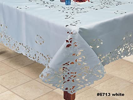 Astounding Creative Linens Embroidered Floral Tablecloth 88X88 Square With 12 Napkins White Interior Design Ideas Oxytryabchikinfo