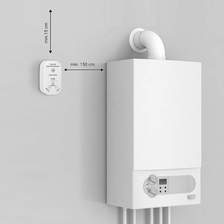 Smartware FGA 13000 Carbon Monoxide Alarm with 10 Year Battery Carbon Monoxide Detector Battery-powered en 50291 Certified