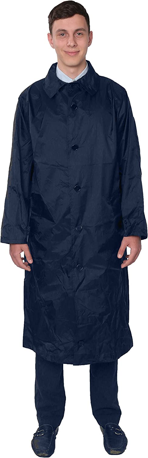 Fit Rite Mens Nylon Hooded Waterproof Long Lightweight Waterproof Raincoat Full Length Rain Jacket Zip in Hood