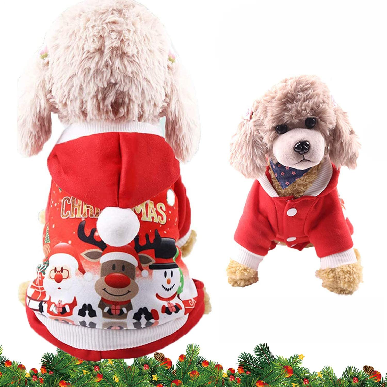 WELLXUNK® Disfraz de Perro de Navidad, Ropa Mascotas con Capucha para, Adornos de Navidad para Mascotas, Lindo Trajes de Navidad, Otoño Invierno Mascota Ropa para, Christmas Pet Traje Fiesta (L)