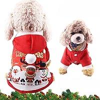 WELLXUNK® Disfraz de Perro de Navidad, Ropa Mascotas con Capucha para, Adornos de Navidad para Mascotas, Lindo Trajes de…
